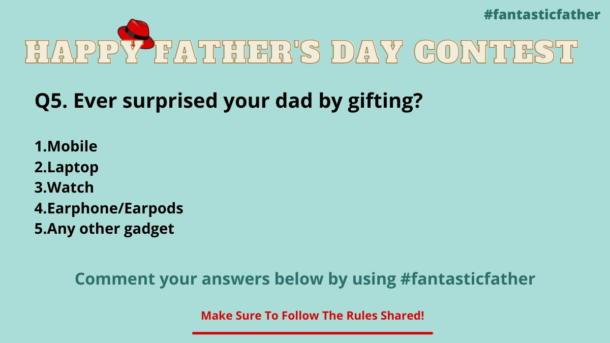 Last & final question of the father's day contest guysss! Tag ur friends and let them know about this contest and increase the chances for your win.   #FathersDay #fantasticfather #father #FathersDay2021 #contestalert #Twitter #fathersdaygifts #gift #SaturdayVibes #giznext https://t.co/pUZDB8007o