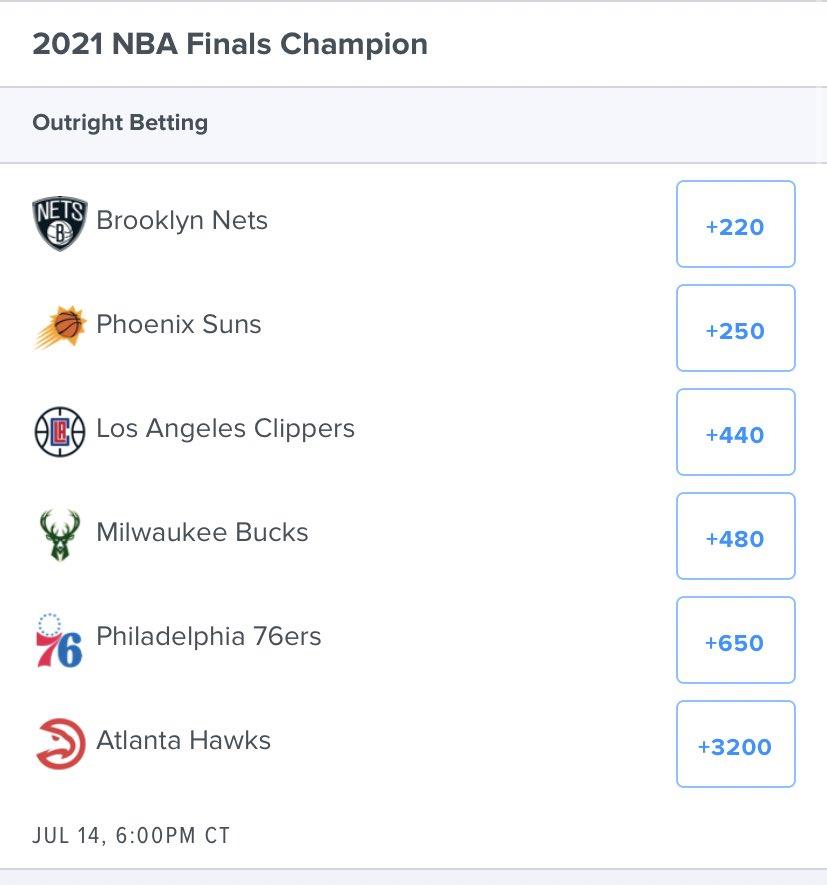 Current Finals Champ odds on @FDSportsbook 👀  Anybody heard from the $50K #TrueToAtlanta outright bettor?😅 #GamblingTwitter #NBATwitter #NBA #NBAPlayoffs https://t.co/DHAEMVsMXa