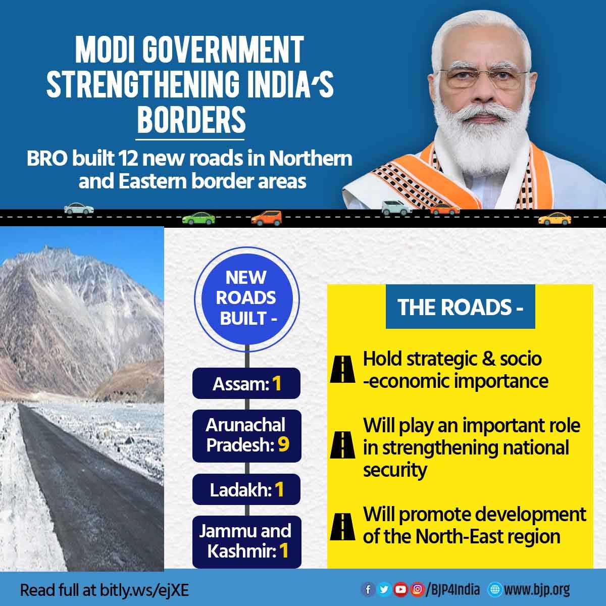 12 new roads built by BRO in Northern and Eastern border areas have been dedicated to the nation.  These roads will not only promote development in the North-East region but also play an important role in strengthening national security. https://t.co/pp0S4xWtKk