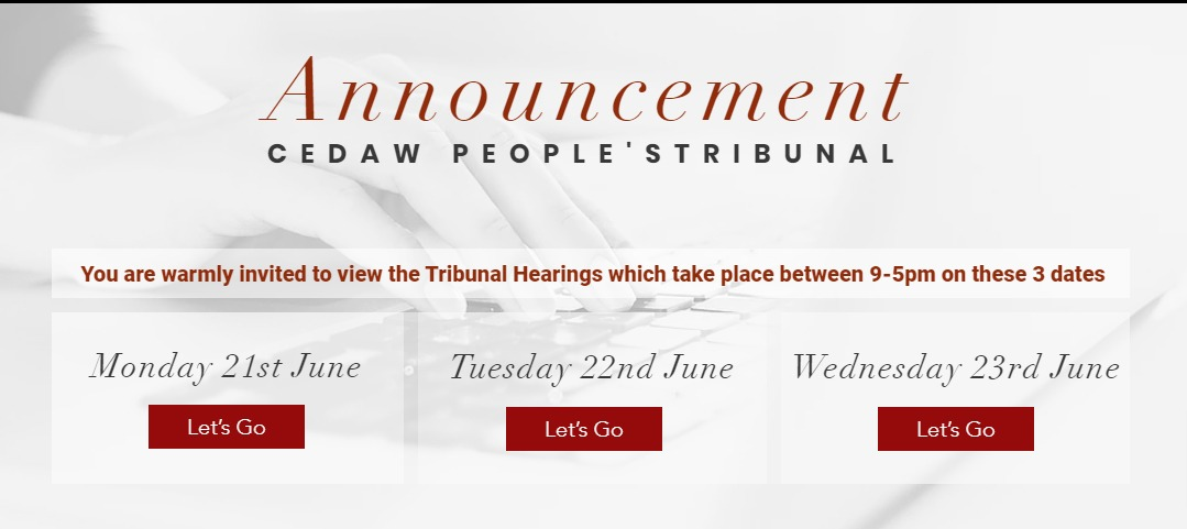 There is a Tribunal taking place. And you're invited. #CEDAWPeoplesTribunal On behalf of all #Women & #Girls in the UK. Live links on our website. Let's go!➡️cedawpt.com