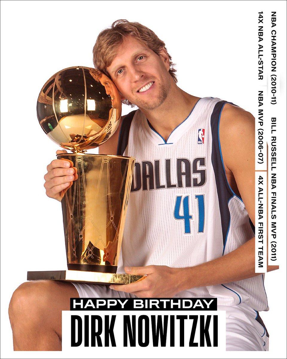 Join us in wishing a Happy 43rd Birthday to 14x #NBAAllStar, 2006-07 NBA MVP, 2010-11 NBA champion and NBA Finals MVP, Dirk Nowitzki! #NBABDAY https://t.co/AB2yMg6Kgb