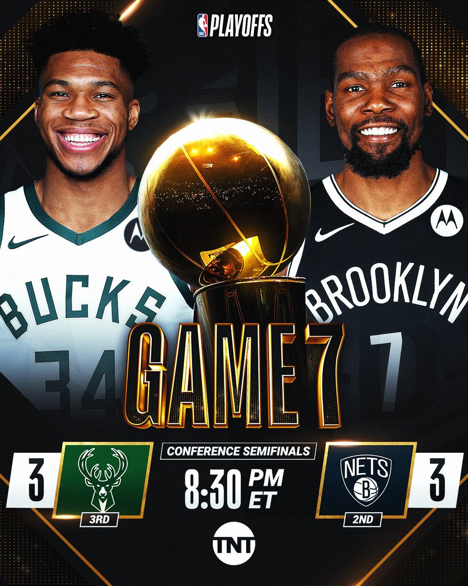 🚨 WIN OR GO HOME GAME 7 🚨  MUST-SEE TV TONIGHT as the @Bucks and @BrooklynNets face off in GAME 7 at 8:30pm/et on TNT... who will advance? #NBAPlayoffs https://t.co/Ko79Ednam0
