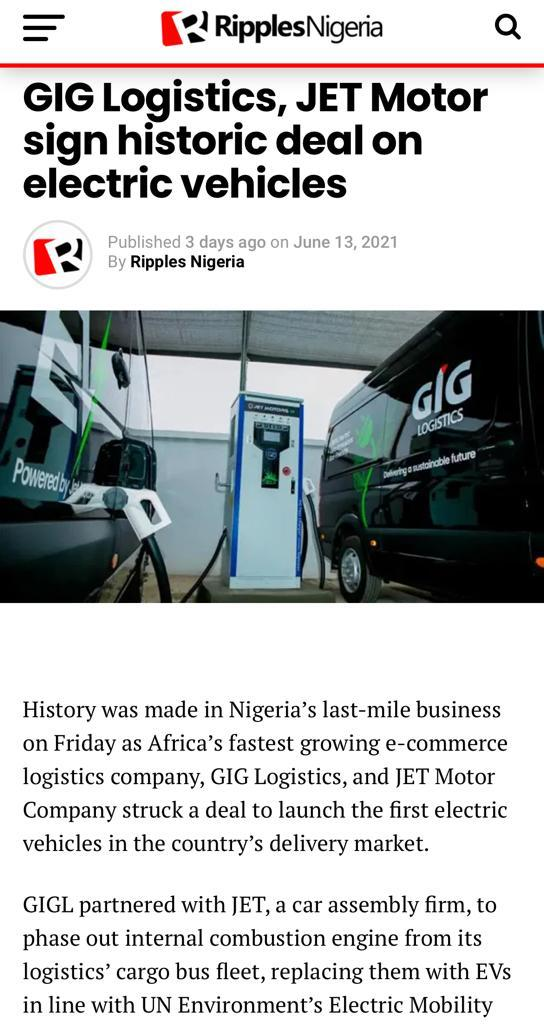 Finally a good news for us to see on the TL today as @jetmotorcompany partners with @GiGLogistics to launch the first electric cars in Nigeria.  These 100% electric vehicles with zero emissions is the first of its kind and was proudly assembled in Lagos. Amazing right? https://t.co/OKUxCLaMeV