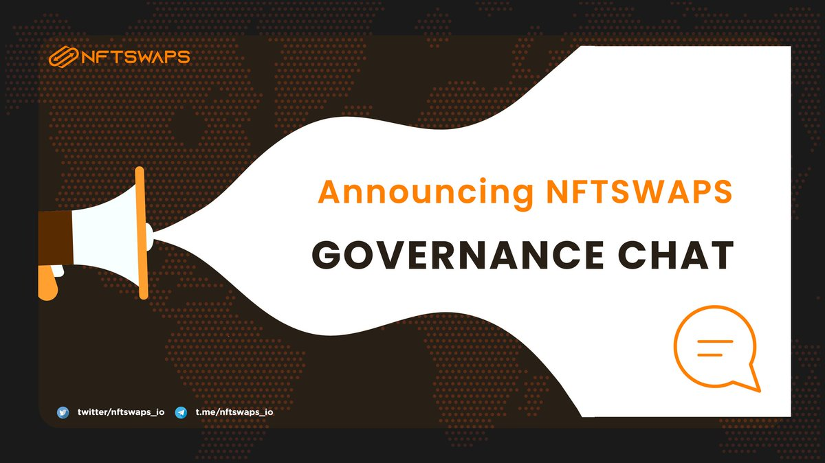 NFTSwaps Team is excited today to announce the public launch of the NFTSwaps Governance Chat.  To join the NFTSwaps Governance, one must hold at least 5000 $SWAPS and Maintain that balance in their Binance Smart Chain Wallet.  💥 How to Join 👇 https://t.co/u6vyU6VUUy  Cheers 🍻 https://t.co/aEUZ6rL855