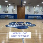 Image for the Tweet beginning: The refinished gym floor with