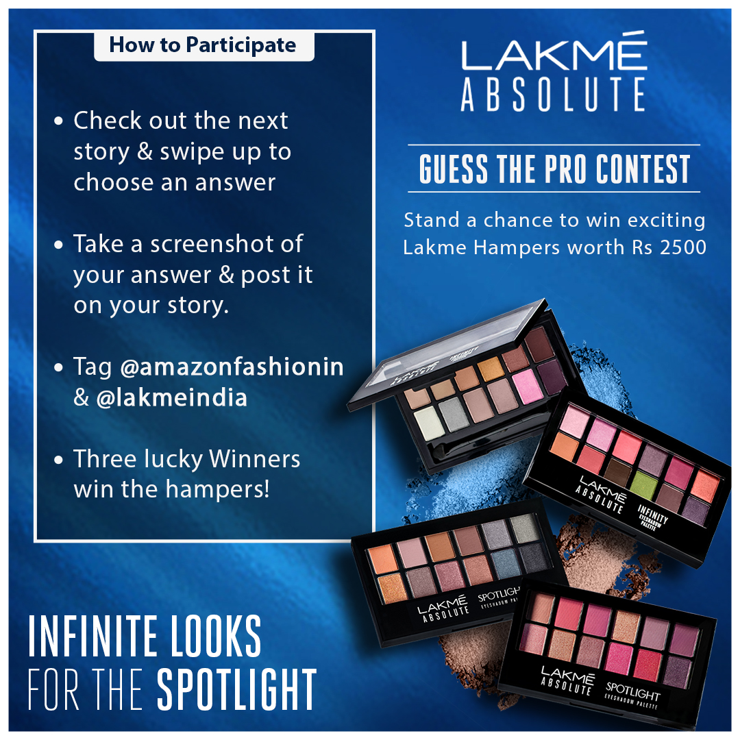 Contest alert!! 🎉  Get your favourite eyeshadow palette for FREE by telling us your most liked eyeshadow & following the simple steps mentioned!  #AmazonBeauty #Amazon #Lakme #Contest #ContestAlert #hampers #Giveaway https://t.co/IfXLN2wJlw