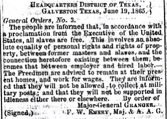 Today in 1865, the Emancipation Proclamation is announced publicly in Galveston, as Union forces arrive to ensure 250,000 enslaved Texans are freed. #Juneteenth https://t.co/hwi6peXwow