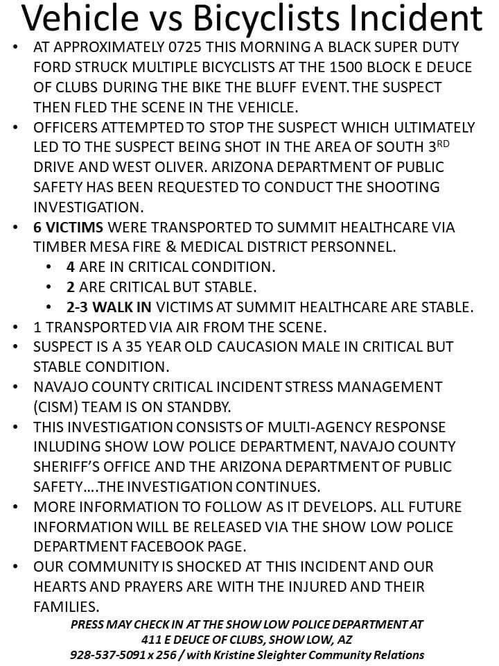 Bad incident out of Show Low, a small town in AZ. Ford truck veered into a group of 40-50 cyclists and then hit a power pole. Suspect fled, police pursued, and an OIS occurred. Hopefully all will heal quickly. https://t.co/9TIxhO3FXP