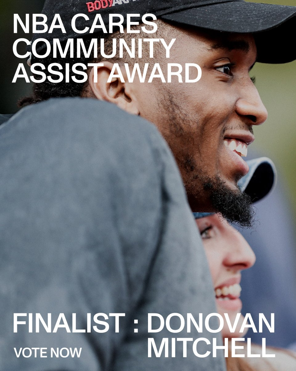 Last day to vote for Donovan as a finalist for the @NBACares Community Assist Award, and today your vote counts 𝗗𝗢𝗨𝗕𝗟𝗘 🗳  RT this post, make your own tweet with #DonovanMitchell + #NBACommunityAssist or vote here: https://t.co/R4mfMhBGDu https://t.co/NDl11GHAKl