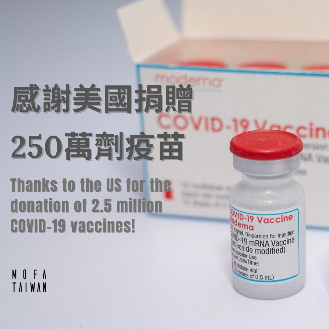 【感謝美國 加量三倍】 MOFA would like to thank the #US for increasing the number of #vaccines donated to #Taiwan, from 750,000 to 2.5 million.  The vaccines are set to arrive at Taoyuan International Airport on Sunday evening. #RealFriends #RealProgress https://t.co/lpLhDnIE5e https://t.co/12PNPolzaV