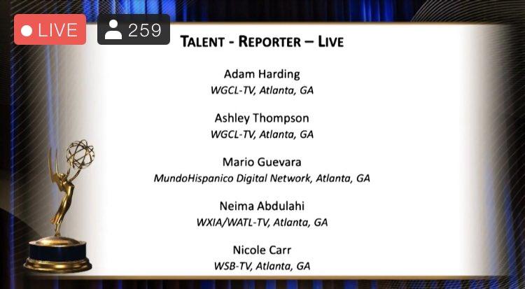 @AshleyCBS46 you did it👏🏾👏🏾👏🏾 #TalentReporter @SoutheastEMMY #Congrats @cbs46 https://t.co/ltqAuNvini