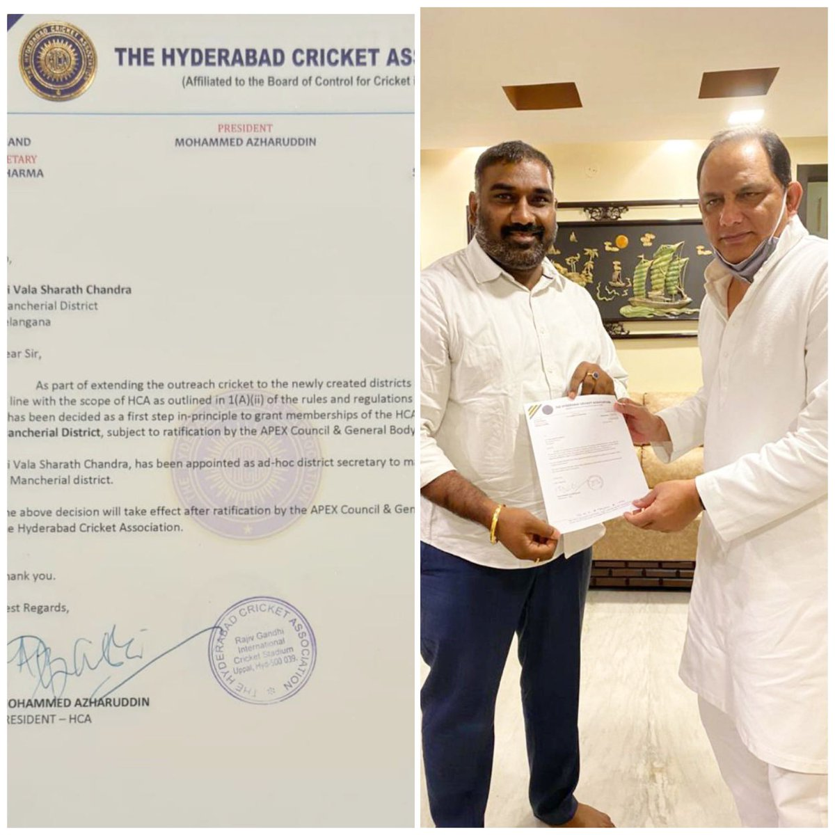 Congratulations My Beloved Brother Sharath Anna For Being Appointed As Hyderabad Cricket Association (HCA) Mancherial District Secretary   Best Wishes From your Brother  Shiva Nani (TRSV)  #cricket  #cricketlovers  #hca  #hyderabad @SharathRaoTRS https://t.co/OdsK7O6VIb