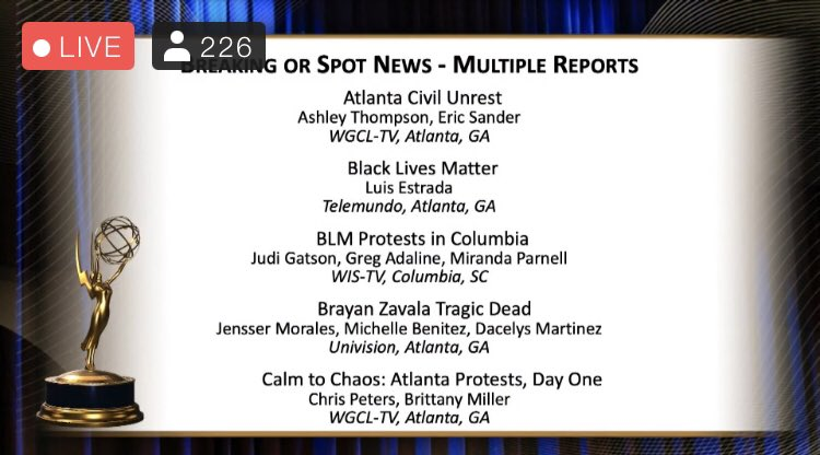 Another one 🏆 Your hard work paid off @Brittm_tv  @SoutheastEMMY @CBS46 #Congrats https://t.co/mp5CQd0ycC