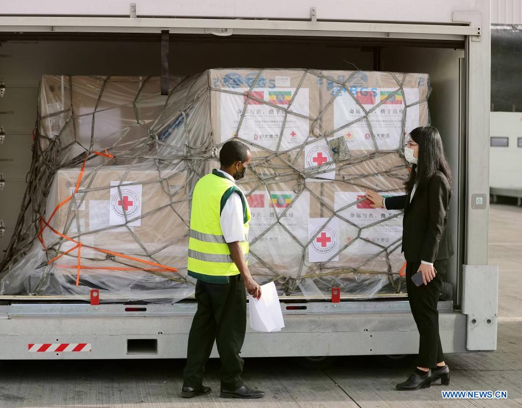 A batch of China's #Sinopharm COVID-19 #vaccines, donated by the Chinese Red Cross Society to its Ethiopian counterpart, arrived in Addis Ababa on Saturday. China has so far donated a total of 500,000 COVID-19 vaccine doses to Ethiopia. https://t.co/ctPATk64z8