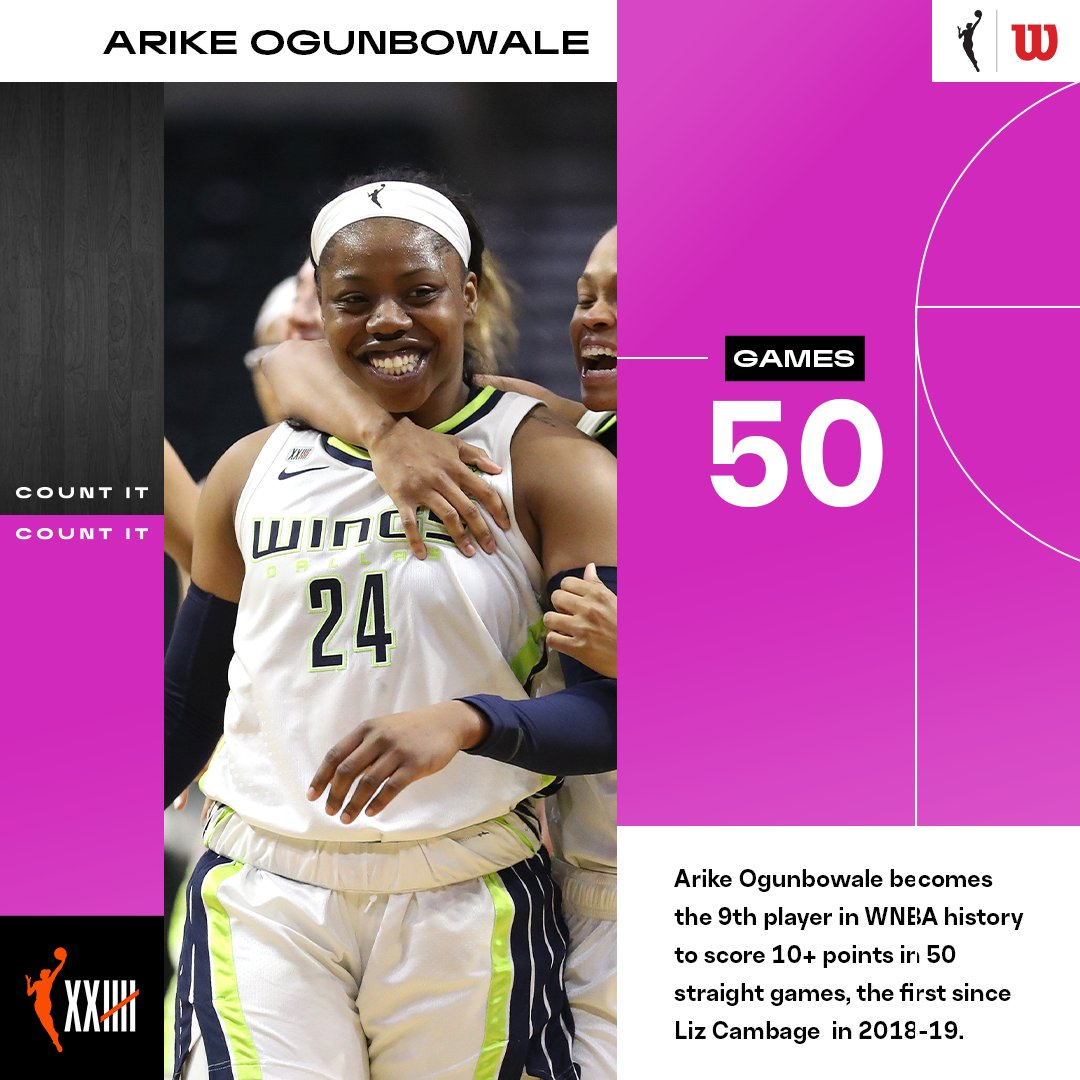 Tonight marked @Arike_O's 50th straight game scoring in double-figures  Ogunbowale is just the 9th player in #WNBA history to go 50 consecutive games scoring 10 PTS or more 👏  #CountIt https://t.co/39EJ6FplPe