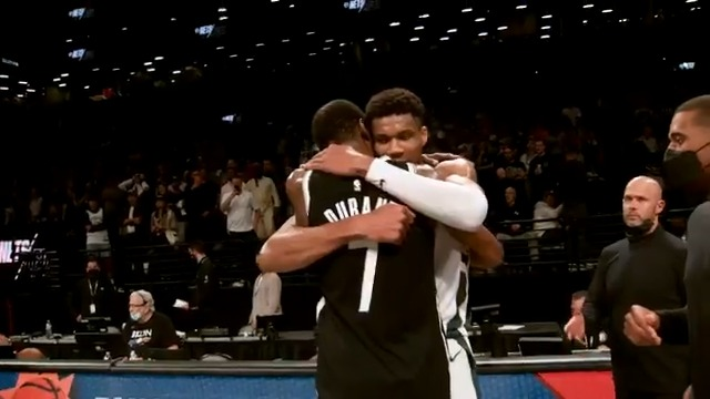 Giannis 🤝 KD  Respect from two superstars after a hard-fought 7-game series filled with incredible performances. #ThatsGame #NBAPlayoffs https://t.co/I8NK3zMyxm