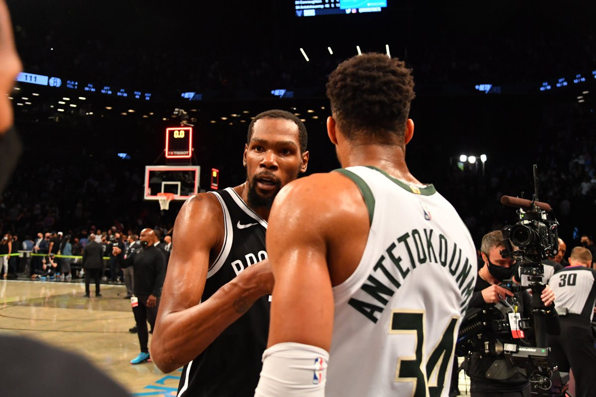 Giannis Antetokounmpo and Kevin Durant became the 3rd pair of opposing players to each score 40+ points in a Game 7, joining LeBron James/Paul Pierce in 2008 and Sam Jones/Oscar Robertson in 1963. https://t.co/PkFVRXzhYA