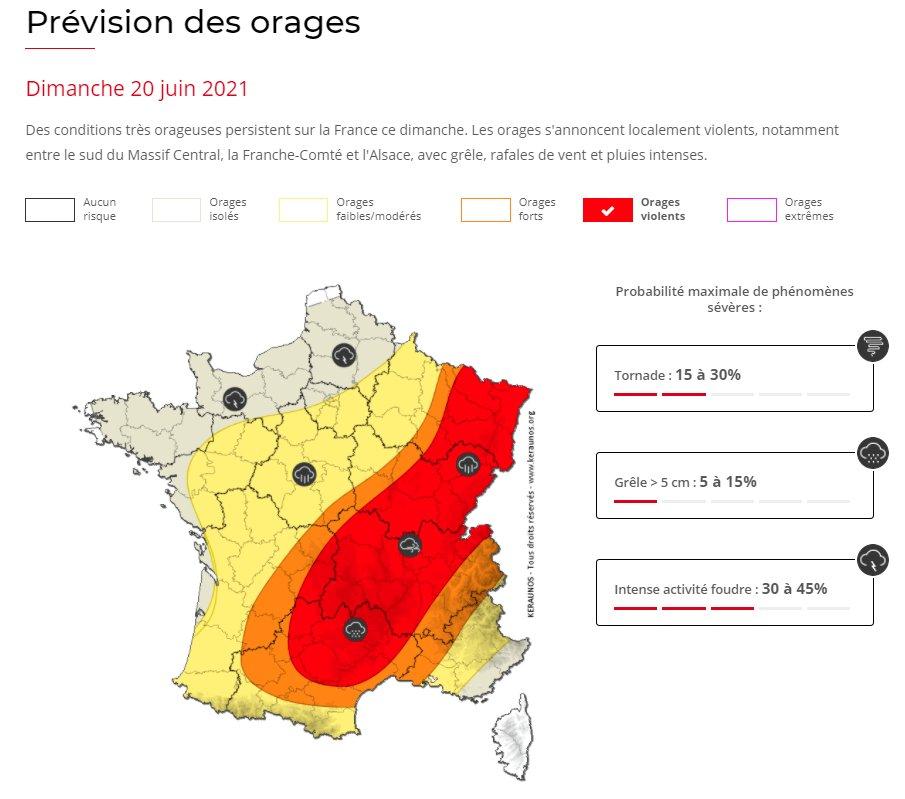 De nouveaux #orages parfois violents sont attendus du nord-est de l'#Occitanie à l'#Alsace avec grêle et fortes rafales possibles. Le risque d'un épisode de derecho n'est pas exclu, se poursuivant jusqu'en #Allemagne.