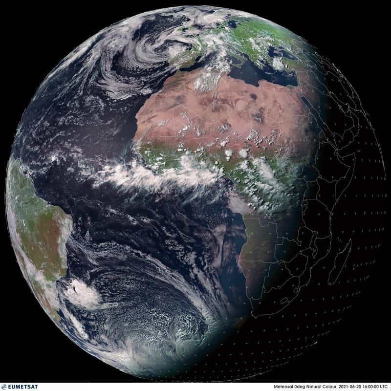 La nuit prochaine, 21 juin, à 3h31 UTC, se produira le #solstice d'été dans l'hémisphère nord. Image satellite Eumetsat.