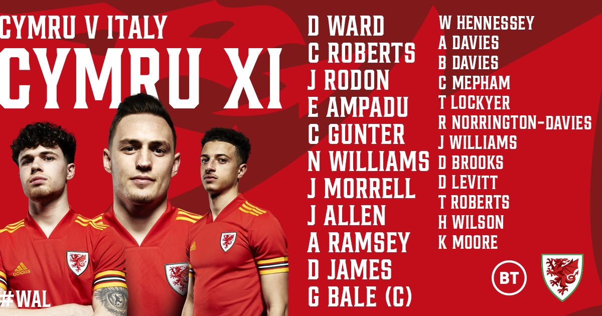 🏴 @necowilliams01 starts for Wales as they take on #ITA in their final Group A game at #EURO2020 🙌