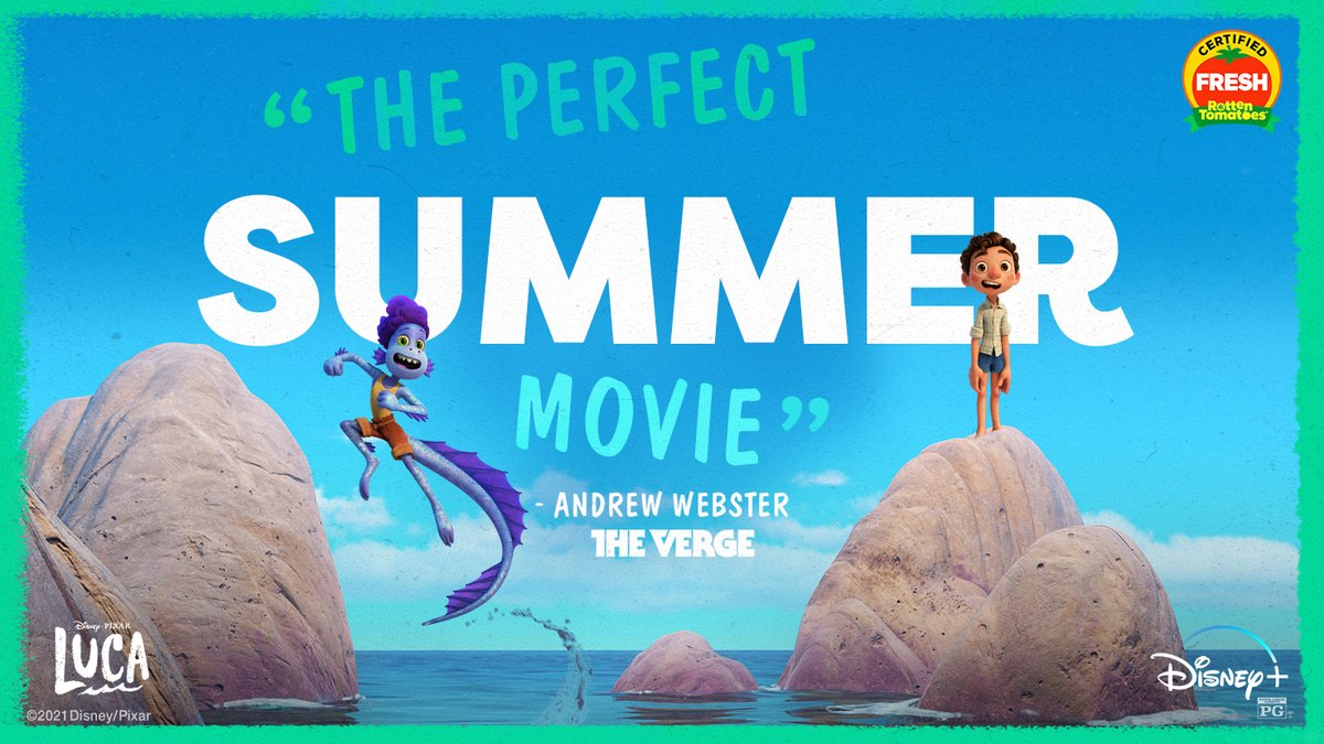 """The """"perfect summer movie"""" has arrived. Pack your bags for #PixarLuca, now streaming on @DisneyPlus. https://t.co/DP5w1nb8nH"""