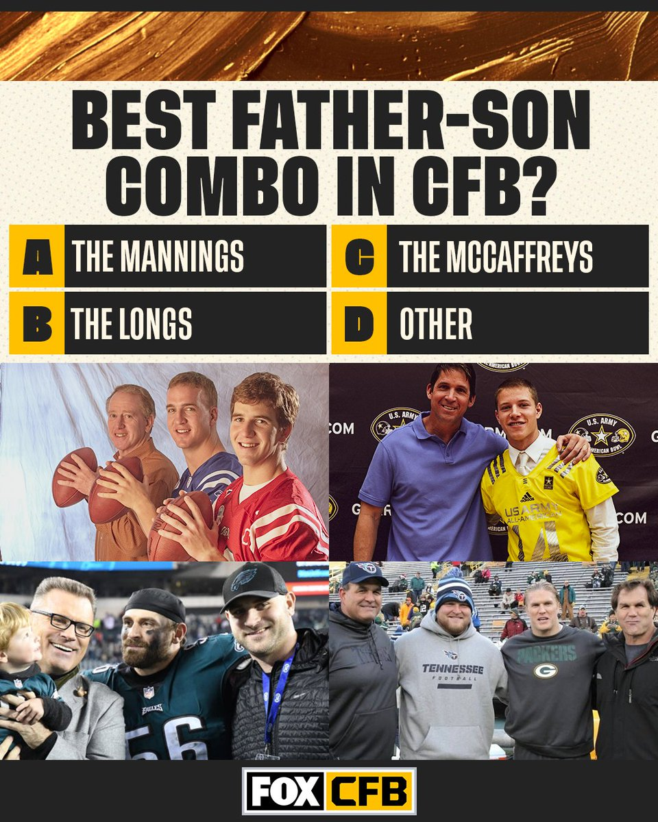 In honor of Father's Day, which college football father-son combo is the best of all-time? 🤔 https://t.co/LwWN6xYHVh