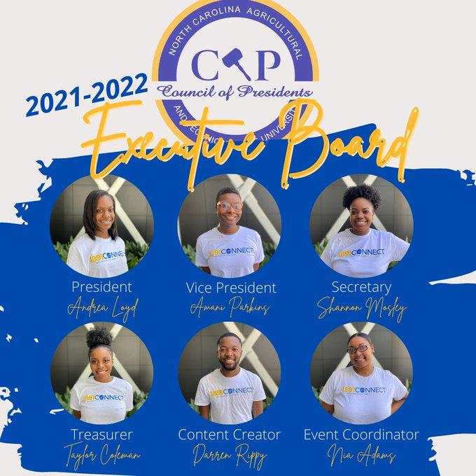 President Andrea Loyd, VP Amani Parkins, Secretary Shannon Mosely, Treasurer Taylor Coleman, Content Creator Darren Rippy, Event Coordinator Nia Adams