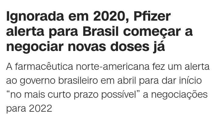 """🔴Que todos saibam:  O Governo Federal não será """"pego de surpresa"""" se não tiver doses de vacinas da Pfizer para o Brasil.  https://t.co/fXFSv3WVL5 https://t.co/dyCaAE1Wu9"""