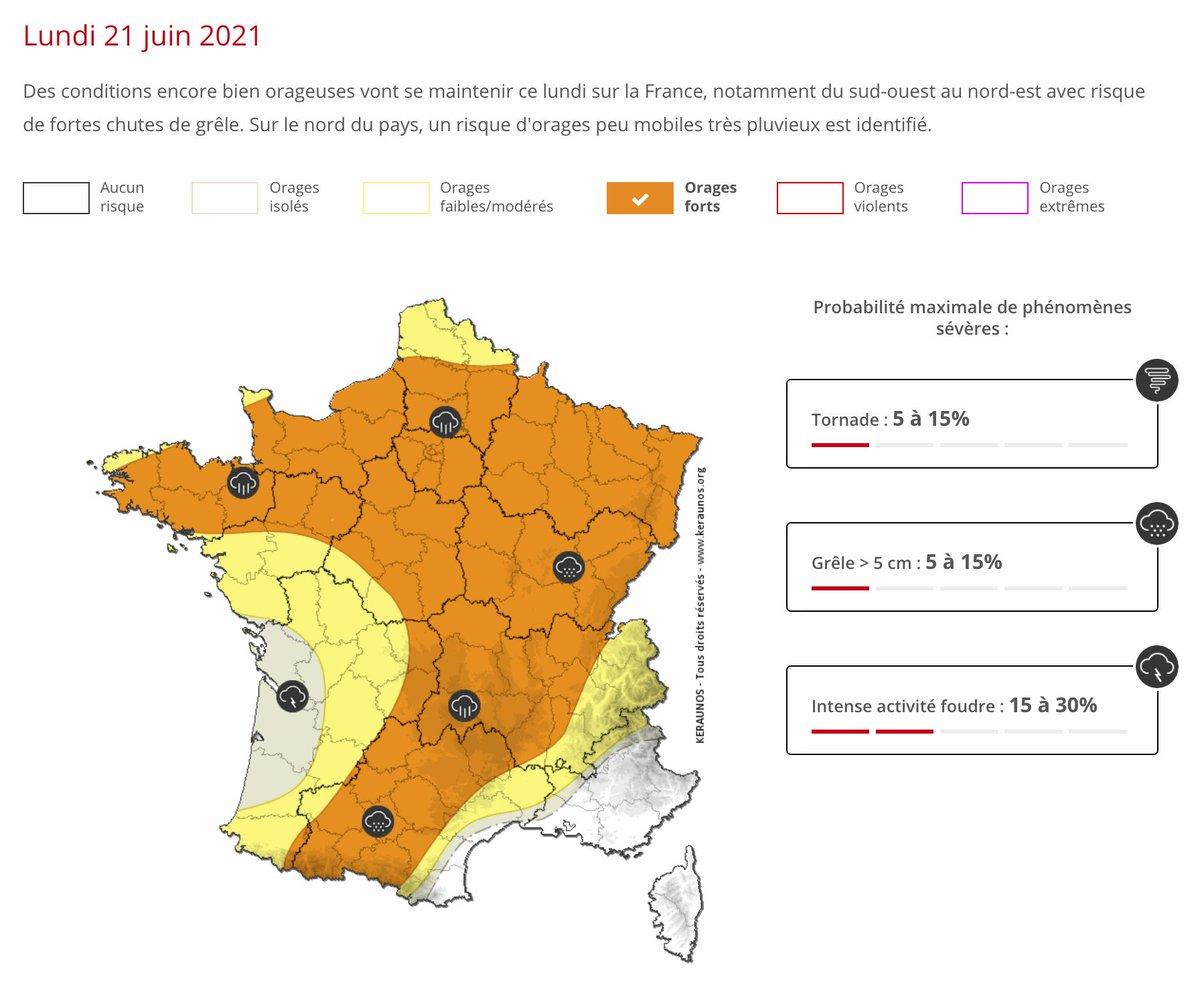 Des conditions encore bien orageuses vont se maintenir ce lundi sur la #France, du sud-ouest au nord-est avec risque de fortes chutes de #grêle. Sur le nord du pays, un risque d'#orages peu mobiles très pluvieux est identifié. Bulletin ->