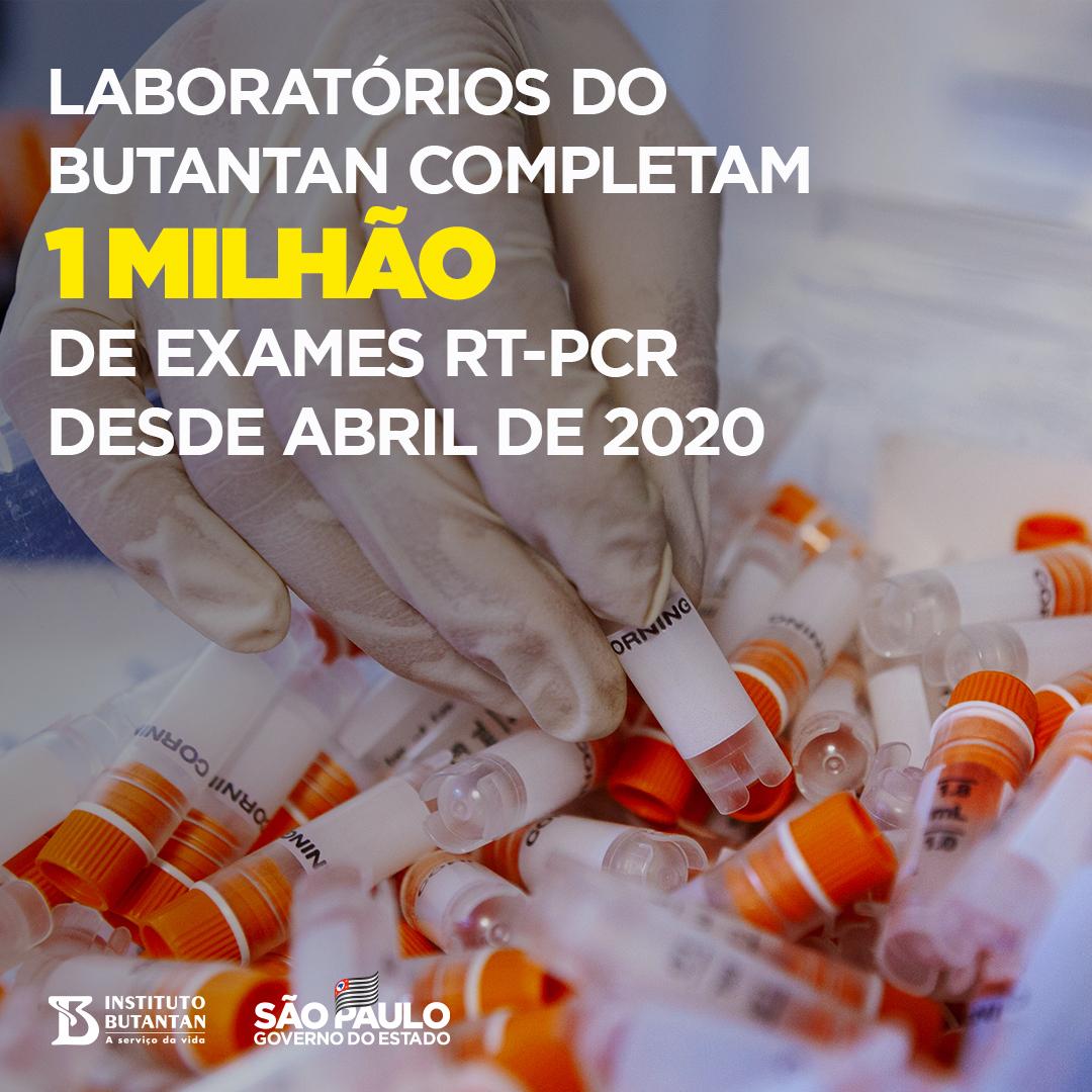 Chegamos a 1 milhão de análises de testes RT-PCR só nos laboratórios do Butantan. Uma marca histórica. Os laboratórios do Instituto fazem parte da Rede de Diagnósticos da Covid-19 de São Paulo, que reúne 29 unidades de testagem. É foco total contra a pandemia. #ÉdoButantan https://t.co/dmsCumTwK9