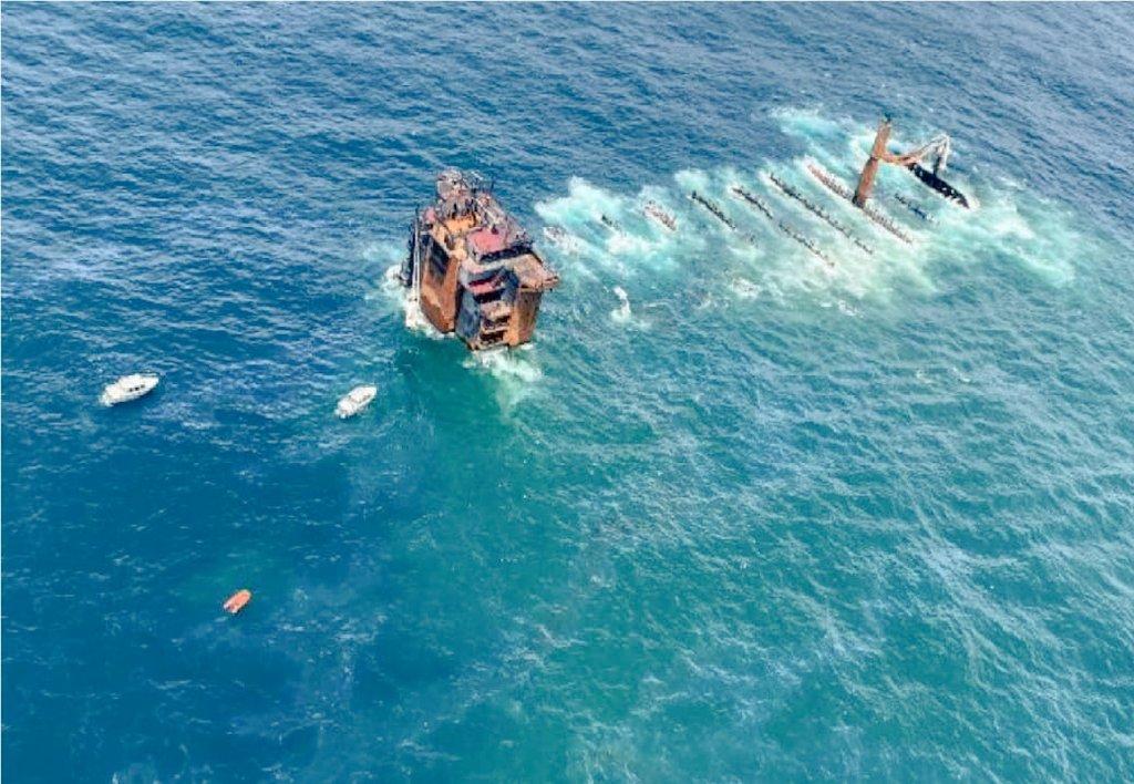 Ship Sarvekshak deployed for survey around #mvxpresspearl off #Colombo detected 54 objects during Side Scan Sonar survey.