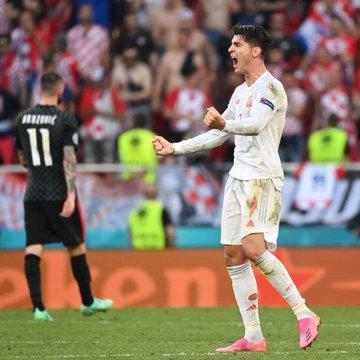 Ekspresi Alvaro Morata usai mencetak gol.