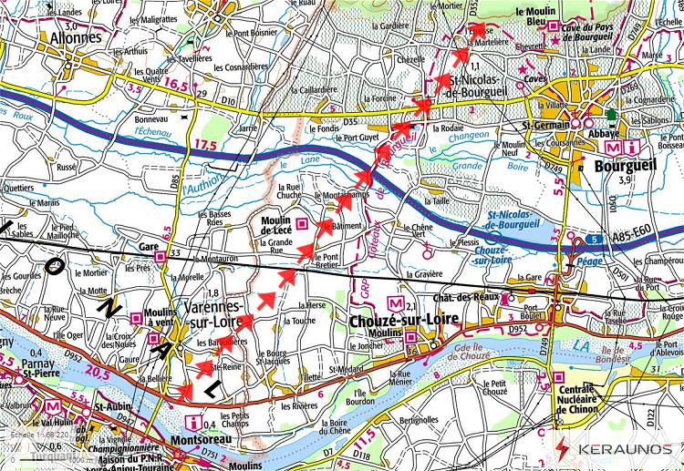 Publication du dossier sur la #tornade qui a frappé Saint-Nicolas-de-Bourgueil le 19 juin. La tornade a parcouru 11 km, avec une intensité maximale EF2 (vents entre 175 et 200 km/h). Dotée d'une structure multivortex, sa largeur a atteint jusqu'à 500m :