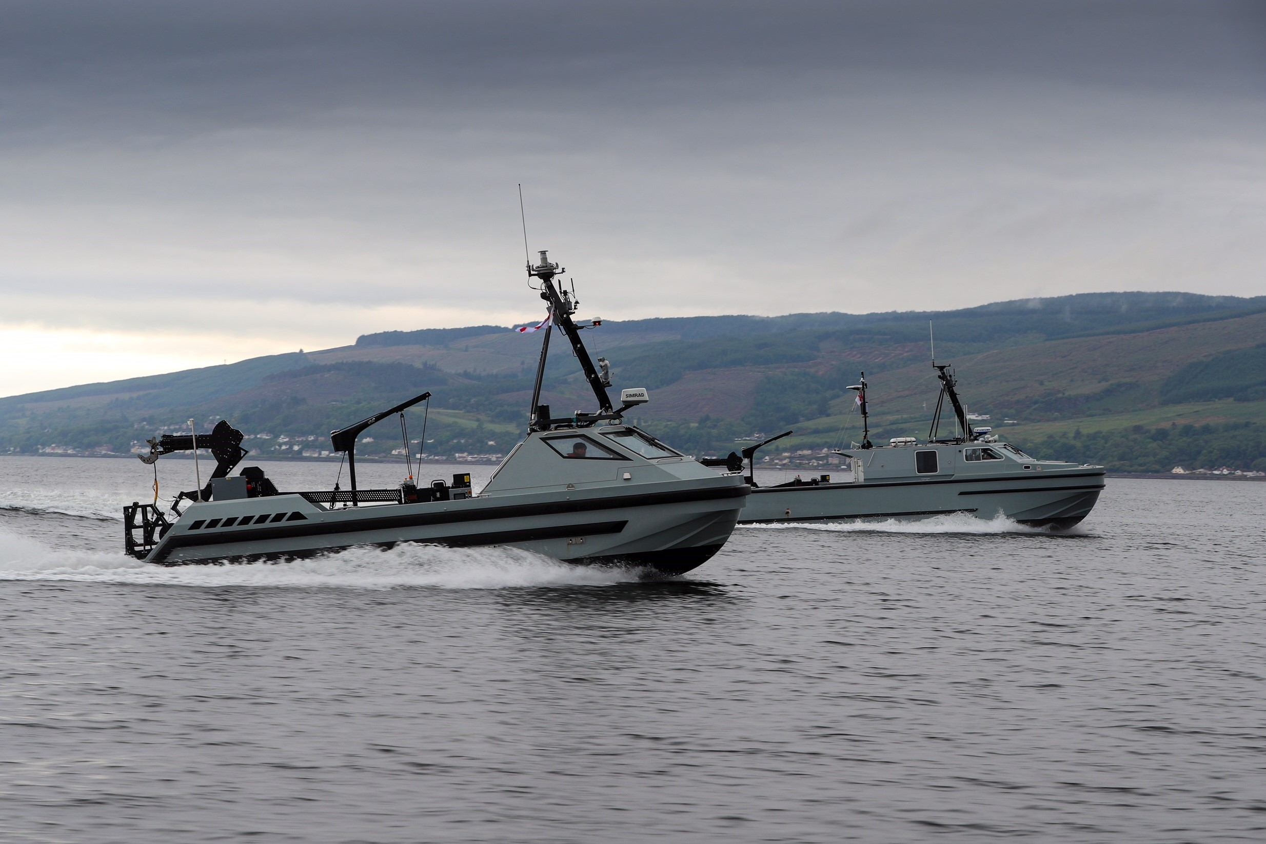 The third and final Royal Navy autonomous minehunting boat has been delivered to Clyde Naval Base.