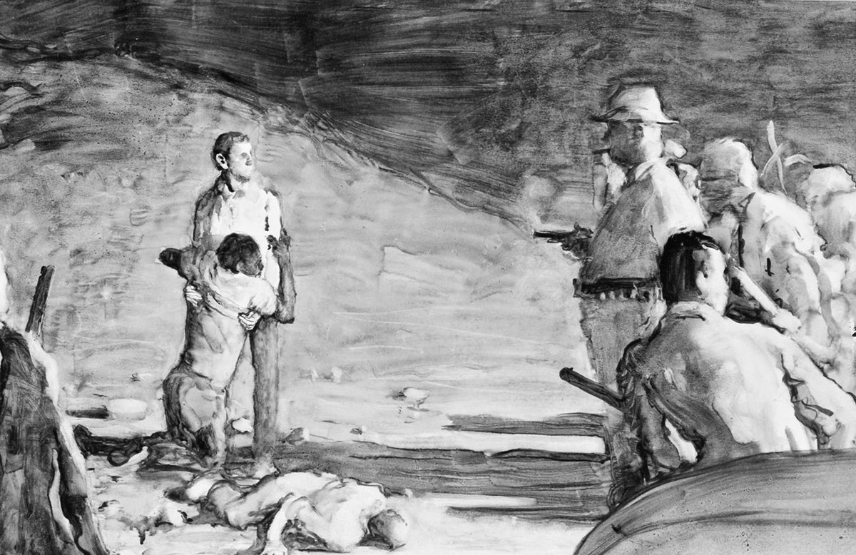Norman Rockwell sketch, as he imagined it, of murder of voting rights heroes Goodman, Chaney and Schwerner in Mississippi on this day 1964: https://t.co/wanKj0Xcoz