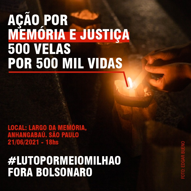 O ato #LutoPorMeioMilhão acontece nessa segunda-feira, 21, às 18h, em homenagem às 500 mil vidas perdidas para a Covid-19 no Brasil.  A ação acontecerá em 18 cidades, aqui em Sampa será no Vale do Anhangabaú!  Ajudem com a tag! Pelo fim das mortes e pelo luto de um genocídio... https://t.co/pptwOHegwg