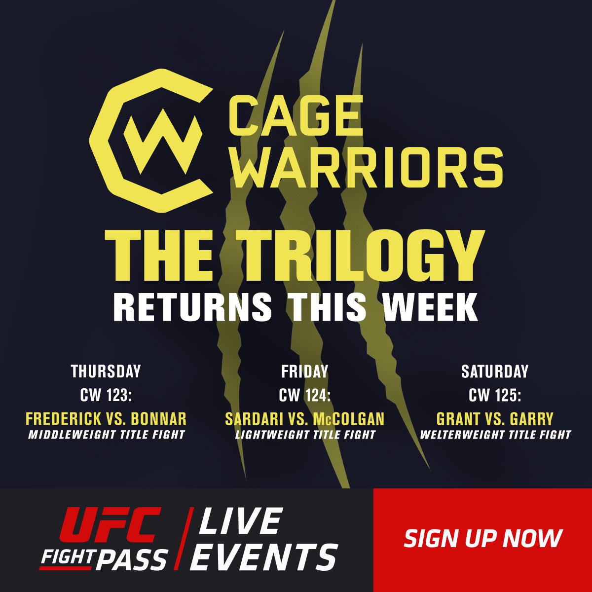 Your week is sorted on @UFCFightPass!  We've got 3️⃣ events in 3️⃣ nights at @CageWarriors!  📺 https://t.co/IxHXj2Qhjk https://t.co/ArfiKTrTCG