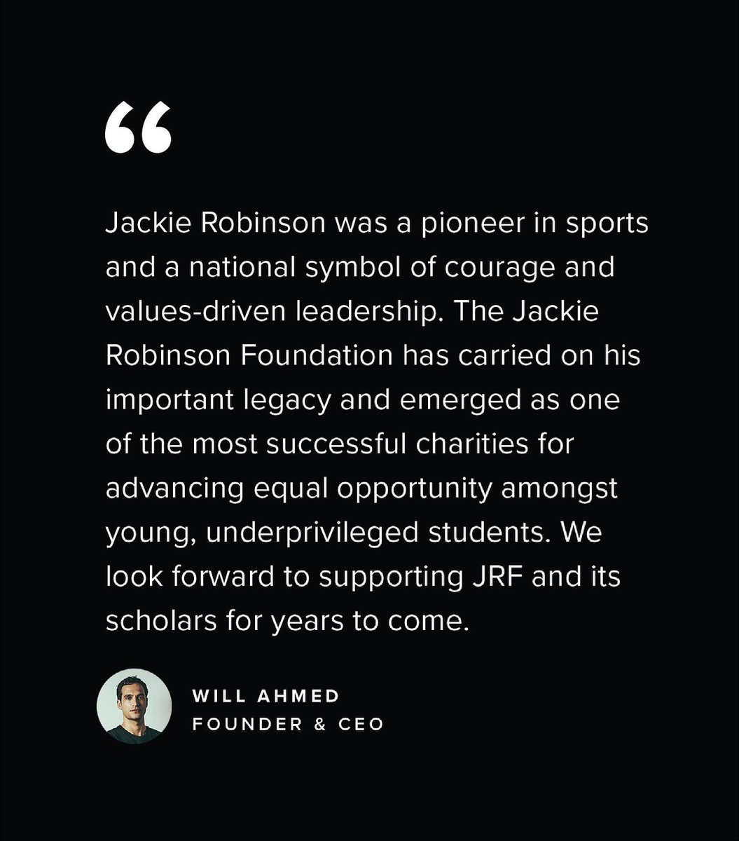 I am thrilled to announce our partnership @whoop with the Jackie Robinson Foundation 🖤 We pledged last summer to do more to create equal opportunity in this country and @JRFoundation emerged as an amazing partner.