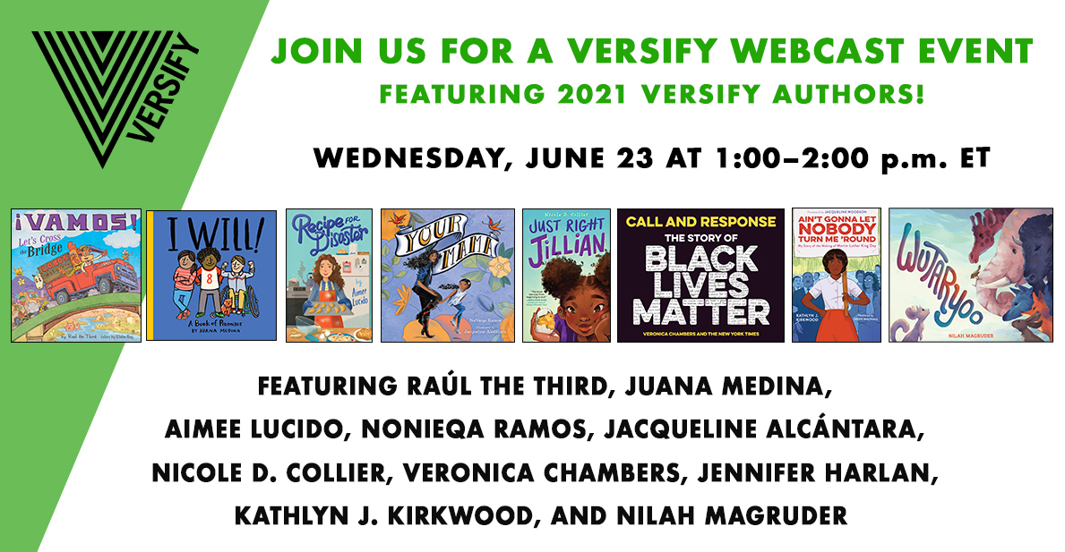 The Versify Webcast Event is THIS Wednesday, 6/23 at 1pm ET!🤩 Join our 2021 @versifybooks authors as they talk about their new books and more! Register for this free event here: https://t.co/kts1w22emq https://t.co/5aS4MHsVmB