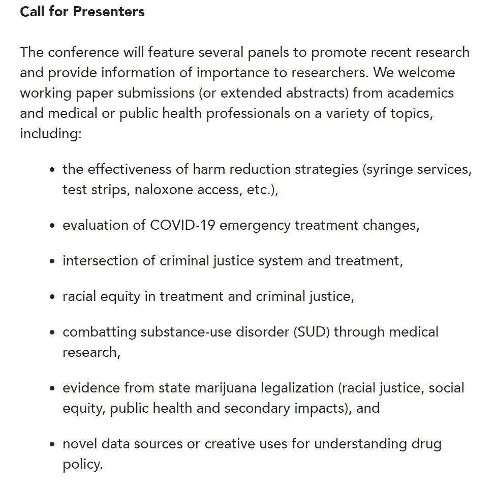 CALL FOR PRESENTATIONS Developing Evidence-Based Drug Policy Conference  We are welcoming working paper submissions (or extended abstracts) for our virtual conference to be held Oct 14-15. See example topics below.  Application details & more info here: https://t.co/svliuzzVA5