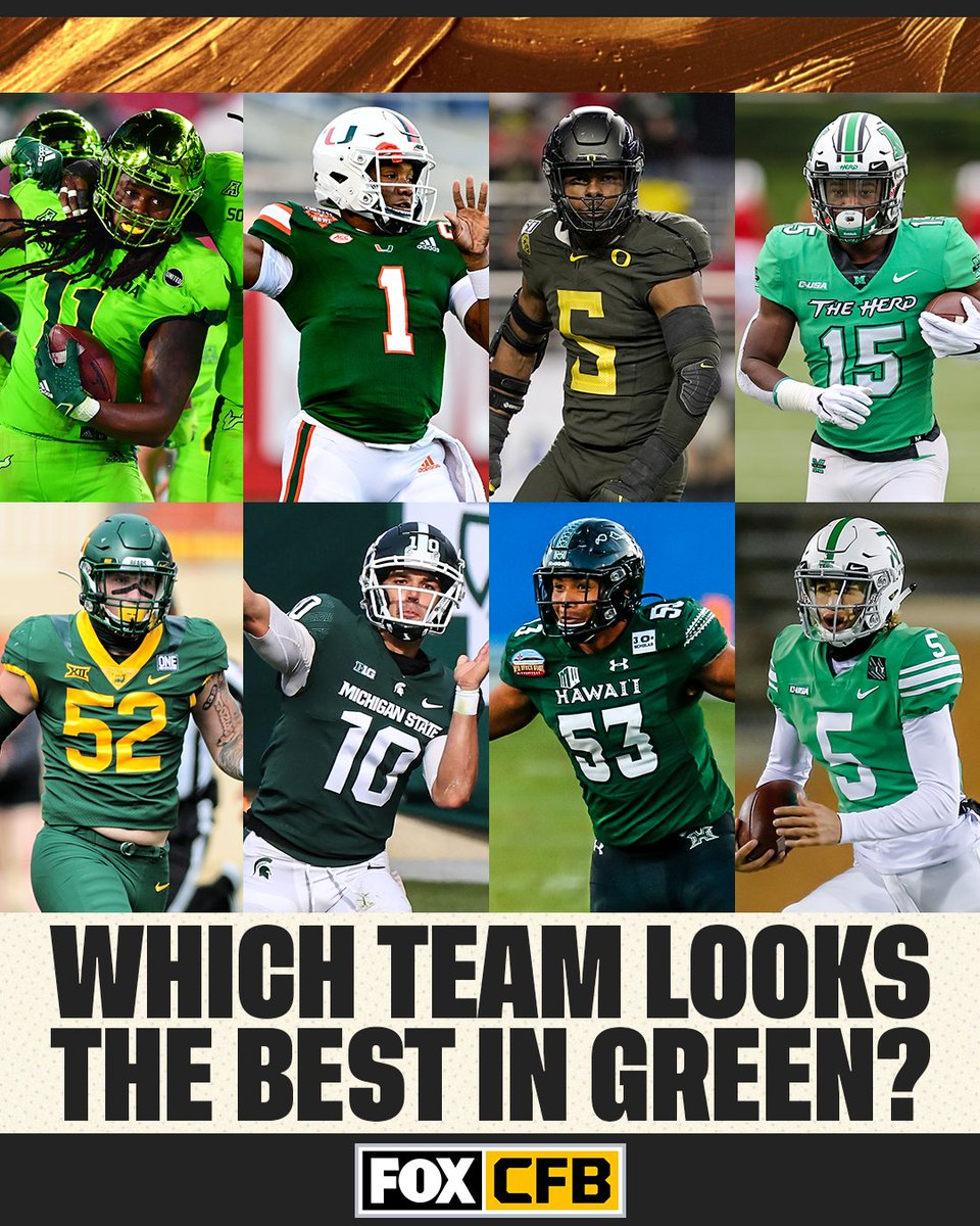 Out of ALL the college football teams that wear green on the field, which team wears green the best? 🤔🟢 https://t.co/lrqjClPwsM
