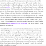 Image for the Tweet beginning: @machoogabacho on why Mexicans fleeing
