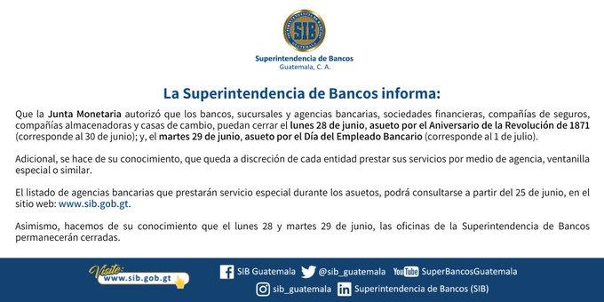 Aniversario de la Revolución de 1871, Día del empleado bancario, SIBGuatemala, asuetos, feriados