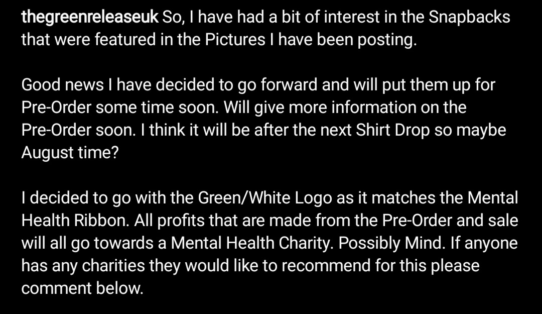 ‼ S N A P B A C K ‼  The GR Snapbscks will be up for Pre-Order some time in the near future. All profits made from the Sale will all go towards a Mental Health Charity. Most likely Mind. If anyone knows of any they would like to be considered please comment the name below! https://t.co/nnCsaAma7F