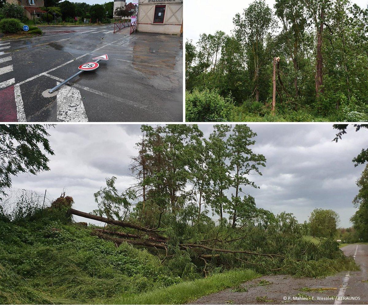 Publication d'une première analyse sur les phénomènes venteux destructeurs survenus samedi dernier entre #Aisne et #Marne, au passage d'un #orage supercellulaire violent :