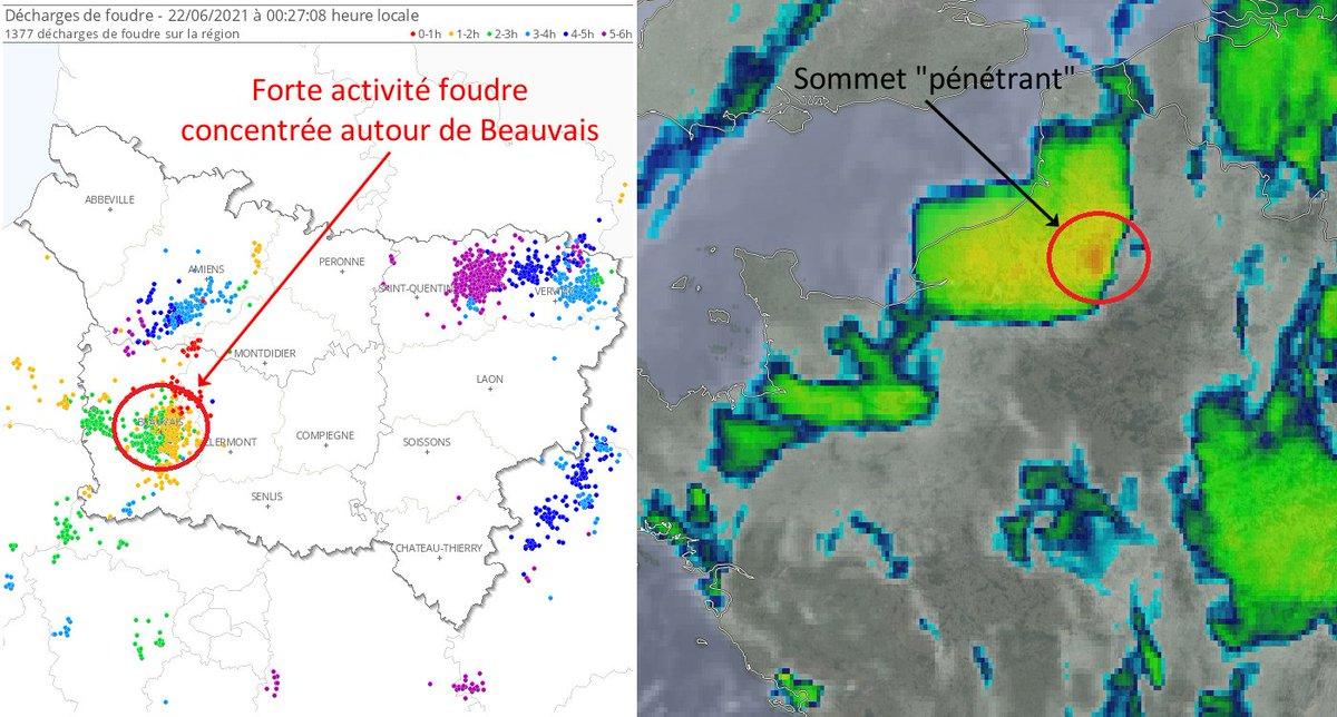 Un #orage diluvien a stationné sur #Beauvais entre 22h et 23h ce lundi : + de 100 mm de #pluie (soit près de 2 mois de pluie) en 1h et importantes #inondations. Forte activité #foudre et sommets nuageux dits