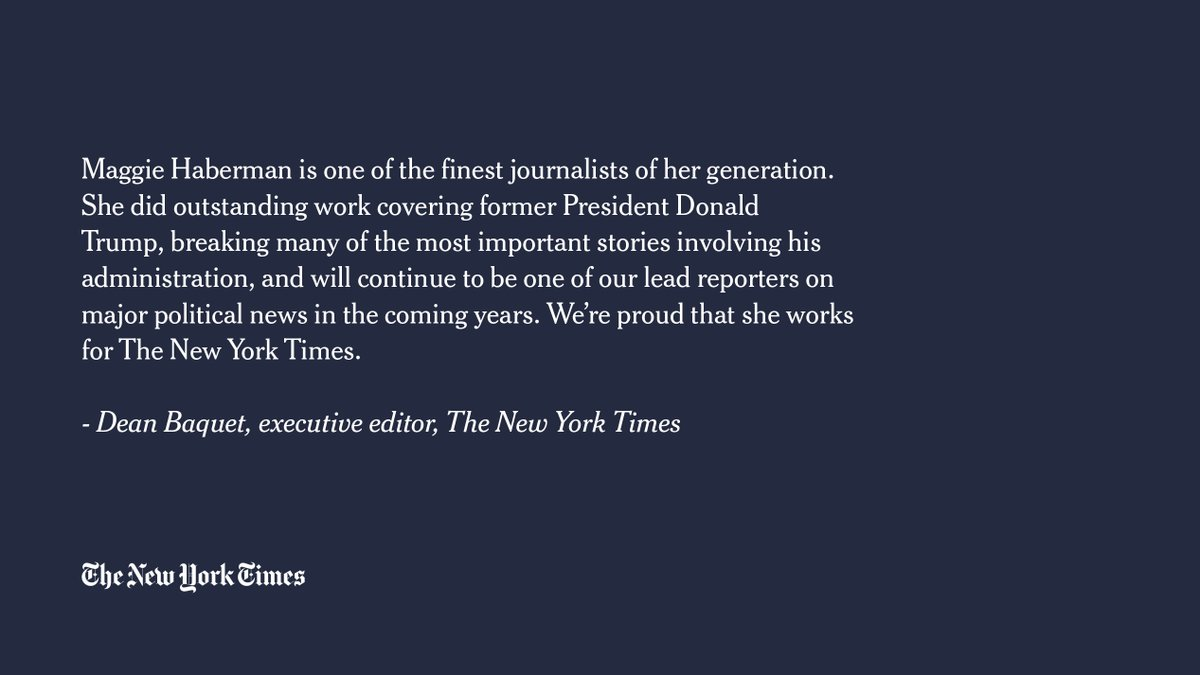 """""""Maggie Haberman is one of the finest journalists of her generation,"""" said @nytimes executive editor Dean Baquet. https://t.co/yvhiporj1M"""