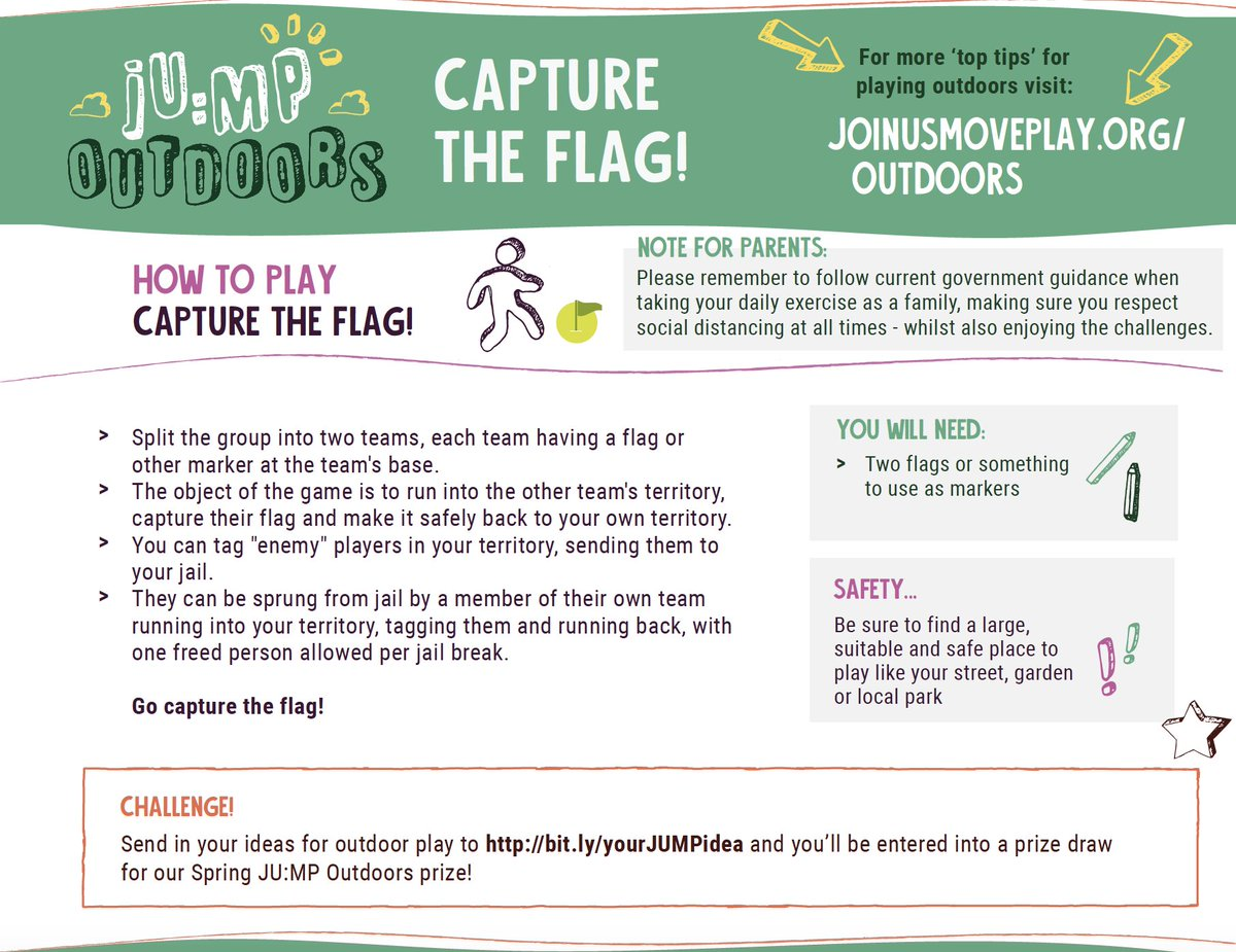 Week 15 JU:MP challenge! Can you play capture the flag? Remember Kids can submit their own outdoor play ideas at https://t.co/zX6RiD9U7V & have the chance to win a scooter through our summer prize draw! 🛴#BringBackOutdoorPlay because #OutdoorPlayMatters