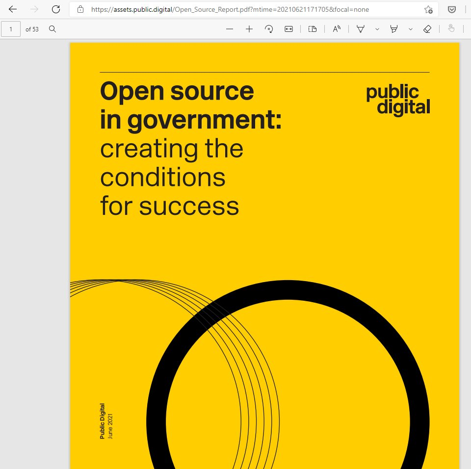 Perhaps I shall read this on the way home. I am a big fan of open source software in government, while mindful of where closed source software can be the better choice. https://t.co/maQDmbk3Ln