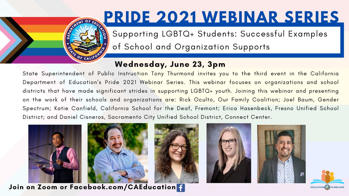 #FUSDFamily, Hear from our very own FUSD family member, Erica Hasenbeck as she discusses how to intentionally support LGBTQ+ students!   Erica is a panelist on the California Department of Education's (CDE) PRIDE 2021 webinar series, airing today!